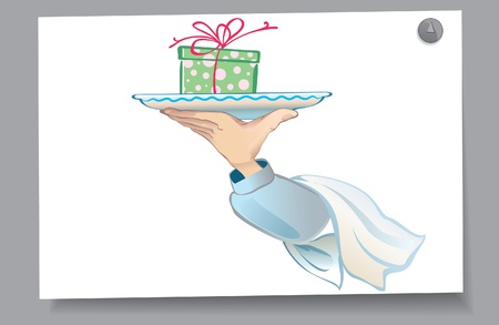 Of a card - the person is present on the plate  The order for the holiday  Illustration