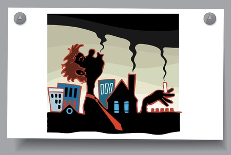 Of a card - the smoke is harmful to health  Profile of male smokers and smoking chimneys Stock Vector - 16620723