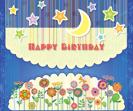 Greeting Card Happy Birthday  Flowers and stars in the night sky  Vector