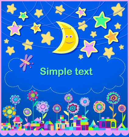 children's: Children s holiday card  Stars in the night sky  The city is composed of bright geometric shapes