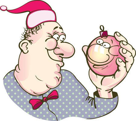 himself: Caricature - a man looks at himself in a New Year s ball  reflection smiles