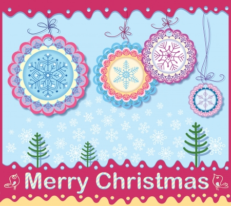 Christmas card of openwork elements  Wishing a Merry Christmas  Vector