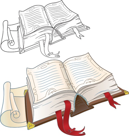 reading bible: Open book  Old thick volume with bookmarks of red tape  Version of the textbook and outline drawing in color