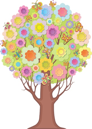 coma: Isolated ornamental tree  coma of stylized flowers and butterflies