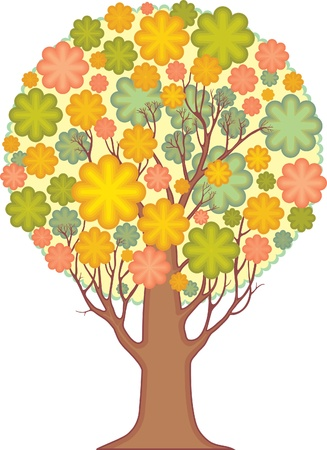 coma: Isolated ornamental tree  coma of stylized leaves  Illustration