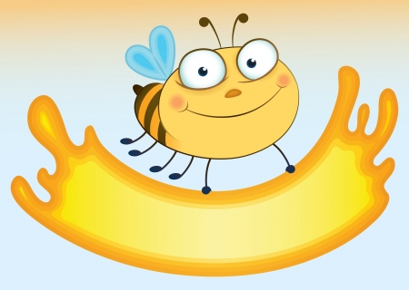apiculture: Cartoon bee that holds sheet for the text  Form extending out honey  Illustration