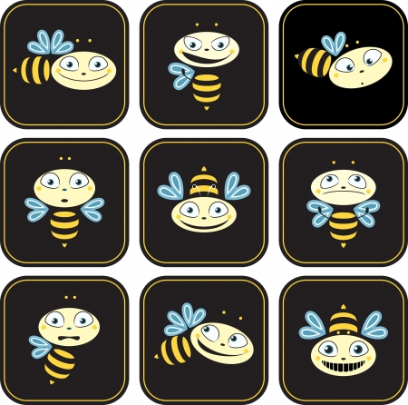Icons with the bees  different emotions  Vector