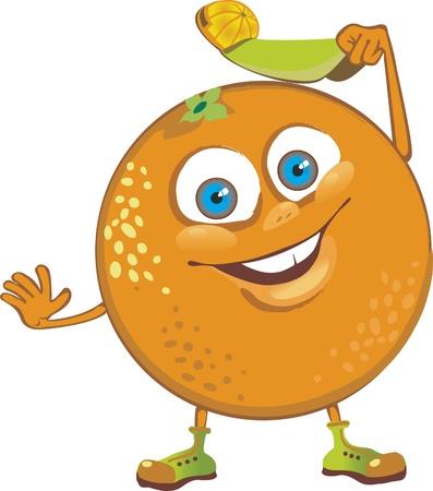 Cheerful orange welcomed  cartoon character  Vector
