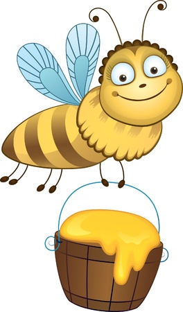 carries: Cheerful bee carries a bucket of honey.