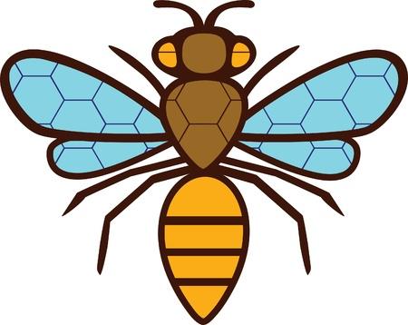 La silueta dibujo de la abeja. En las alas y el cuerpo pintado de una cuadrícula de hexágonos. Foto de archivo - 19754320