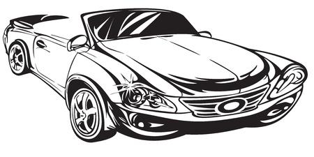 dessin au trait: D�crivez voiture de dessin La machine repr�sent�e en perspective Illustration