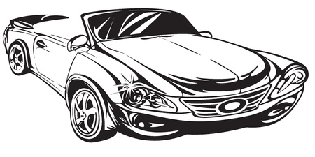 car drawing: Outline drawing car  The machine shown in perspective  Illustration
