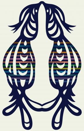 plasticity: Openwork silhouette of couple of birds  symmetrical pattern