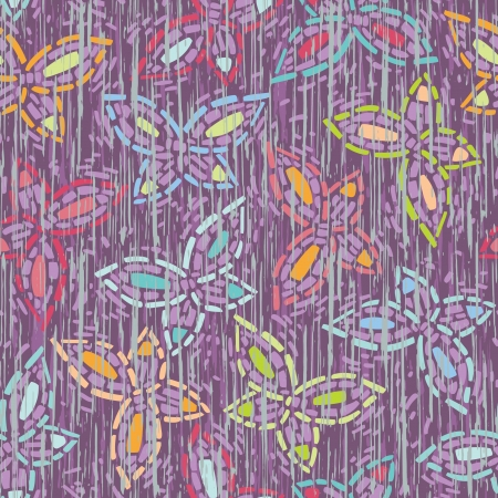 collapsing: seamless inlay of mosaic image of the butterfly  Lilac background, multi-colored wings  Texture that simulates deep scratches