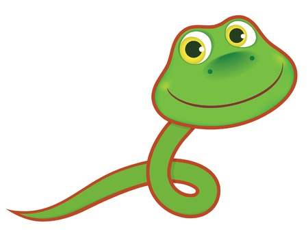 Symbol of the year. Green baby snake. Vector