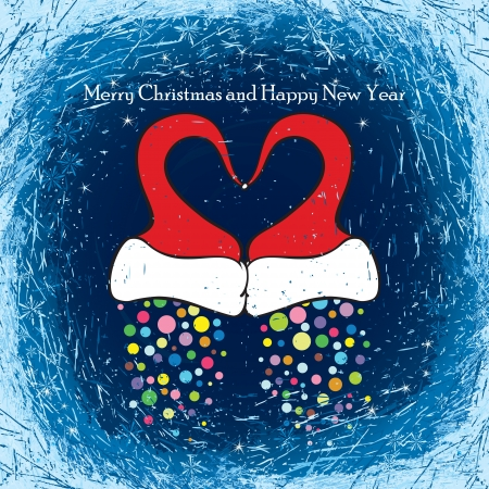 frosted window: Winter night sky visible through the frosted window. Two Santas cap form a heart symbol.