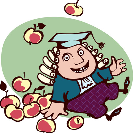 Joyful Isaac Newton sitting surrounded by apples  The fall of the fruit on the learned man