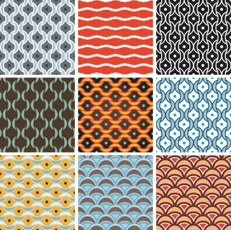 Options seamless pattern of arcs and points.