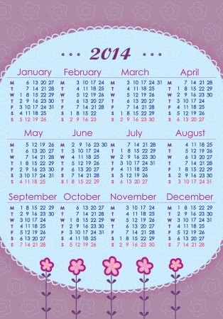 mon 12: Calendar for 2014 in lilac tones  Week starts with Monday  The vertical arrangement