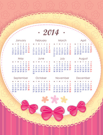 mon 12: Calendar for 2014 in pink  Week starts with Monday  The vertical arrangement  Application of paper and bows
