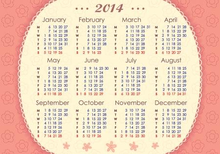 mon 12: Calendar for 2014  Week starts with Monday  The horizontal arrangement