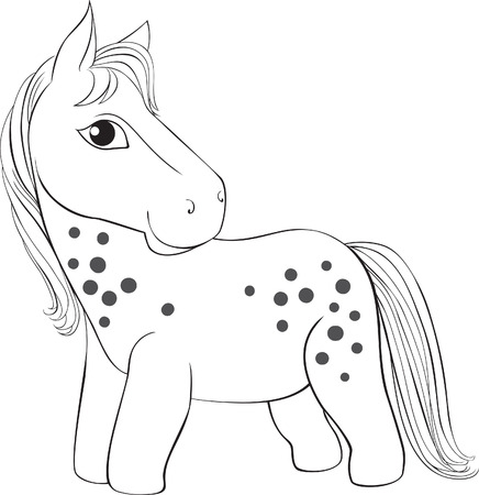 pony: Contour drawing of a small pony  Vector illustration for coloring  Illustration