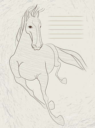 stroking: Drawing of a running horse on gray letterhead paper