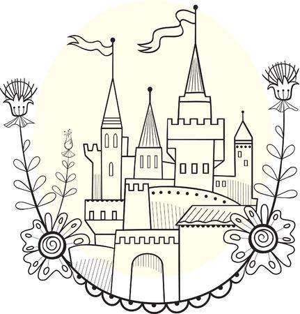castello fiabesco: Figura soluzione castello lineare da favola per la colorazione Vettoriali