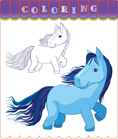 colorize: Figure horse with a long tail  Version in color and outline for coloring  Illustration