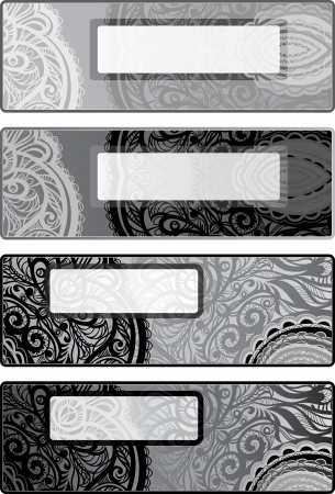 Vector decorative options horizontal backgrounds for flyers  black-white  Vector
