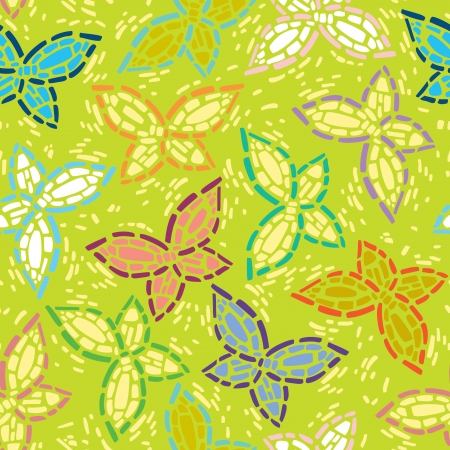 seamless inlay of mosaic images of butterflies  Lime spring background, colorful wings