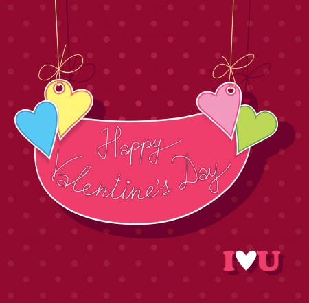 st valentines day: Stock signboard hanging on a clothesline with hearts. Congratulations to the St. Valentines Day.