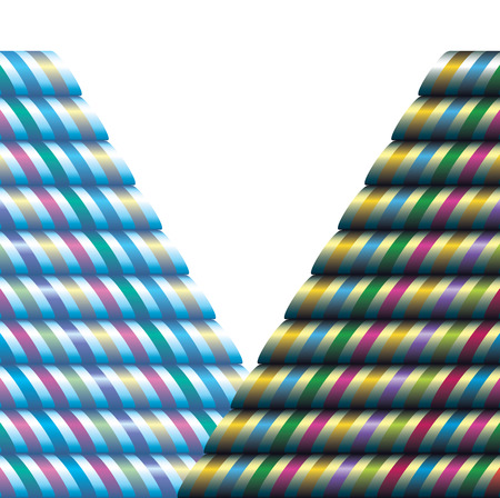 The composition of the horizontal pipe wrapped with bright ribbons.