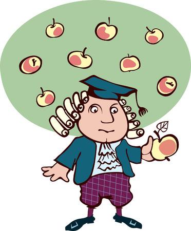 manzana: Isaac Newton pensó, mirando la caricatura manzana del gran científico