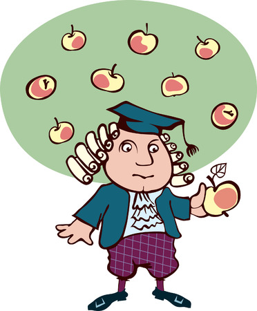 Isaac Newton thought, looking at the apple  Caricature of the great scientist Vector