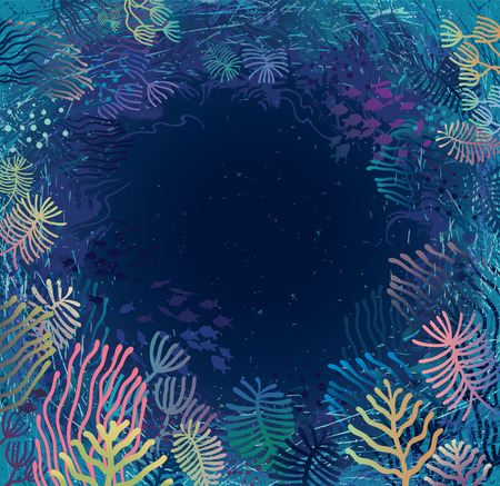 abyss: Underwater  Aquatic plants and corals surrounding sea abyss  Illustration
