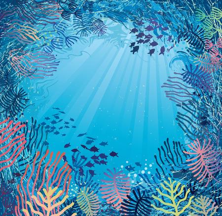 Illustration sous-marine dans la lumière du jour de plantes marines et les poissons