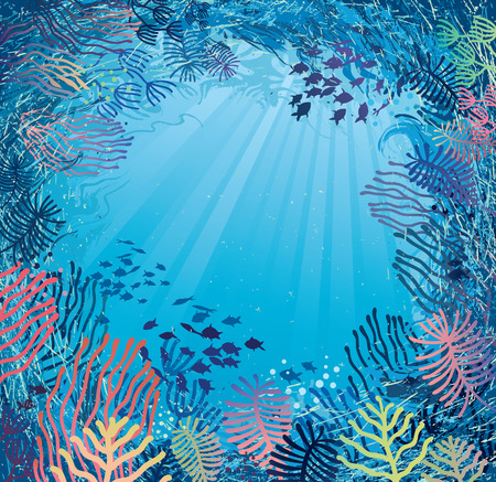 Underwater in daylight  Illustration of sea plants and fish  Vector