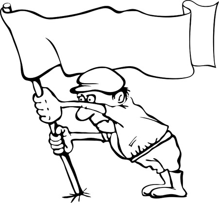 stubborn: Caricature of a man holding a flag in his hands  Without a white background Illustration