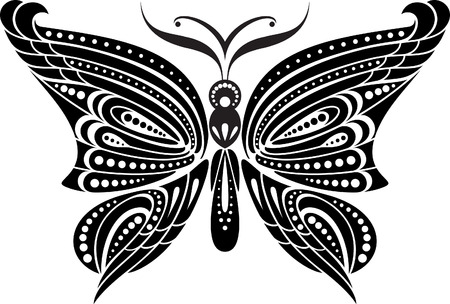 unbuttoned: Silhouette butterfly with delicate wings  Black and white drawing  stylized symbol  Illustration
