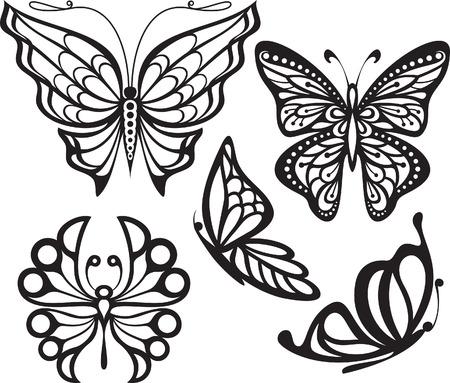 görüntü: Kanatları açık ve profil Siyah hassas bir görüntü ve beyaz çizim stilize sembolü ile siluet kelebek