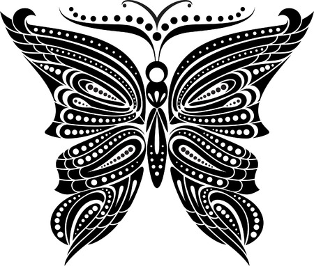 reversal: Silhouette butterfly with open wings tracery  Black and white drawing