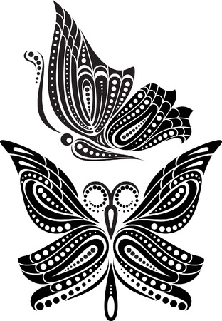 open wings: Silhouette butterfly with open wings tracery. Black and white drawing  stylized symbol Illustration
