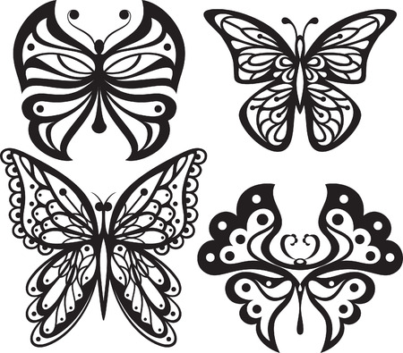 open wings: Symmetrical silhouettes butterflies with open wings tracery. Black and white drawing  options