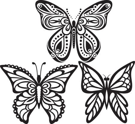 open wings: Symmetrical silhouettes butterflies with open wings tracery. Black and white drawing. Sophisticated decor  Illustration