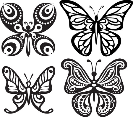 reversal: Silhouettes of butterflies with open wings tracery.  Black and white drawing. Dining decor