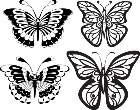reversal: Symmetrical silhouettes butterflies with open wings tracery. Black and white drawing. options stylization