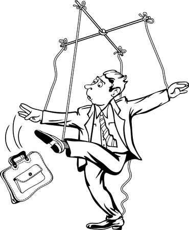 scenario: Man pulling the strings. Worker as a marionette puppet theater