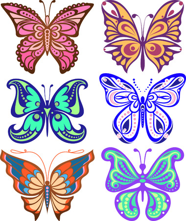 Butterflies variety of complex shape. Decoration silhouette  Vector