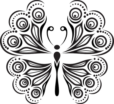 unbuttoned: Delicate butterfly silhouette. Drawing of lines and points